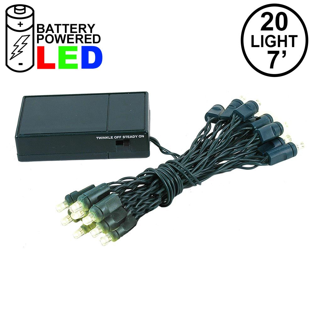 Picture of 20 LED Battery Operated Lights Warm White Green Wire
