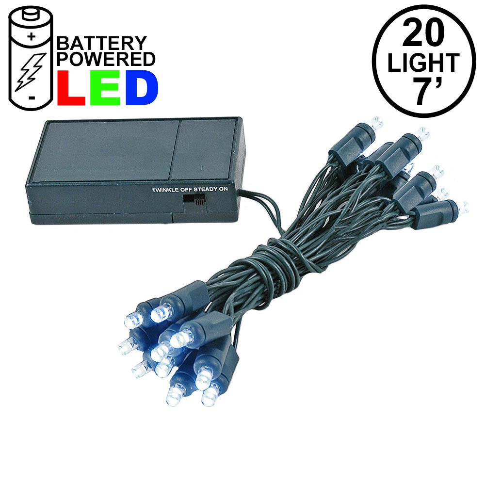 Picture of 20 LED Battery Operated Lights Pure White Green Wire