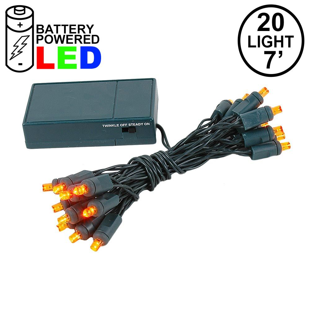 Picture of 20 LED Battery Operated Lights Amber/Orange Green Wire