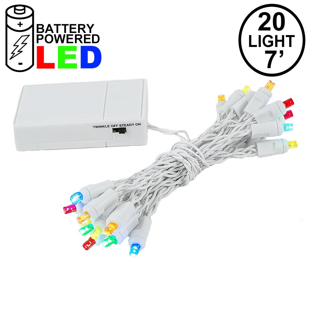 Picture of 20 LED Battery Operated Lights Multi White Wire