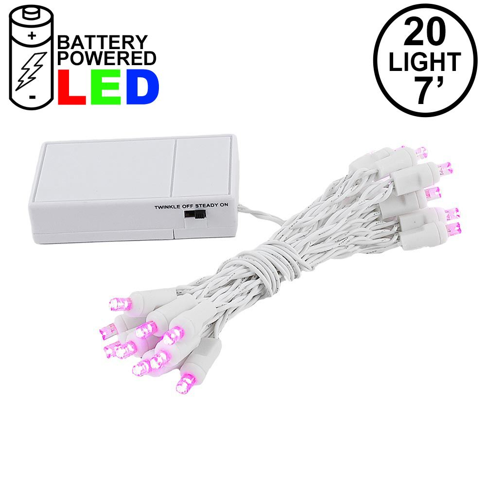 Picture of 20 LED Battery Operated Lights Pink White Wire