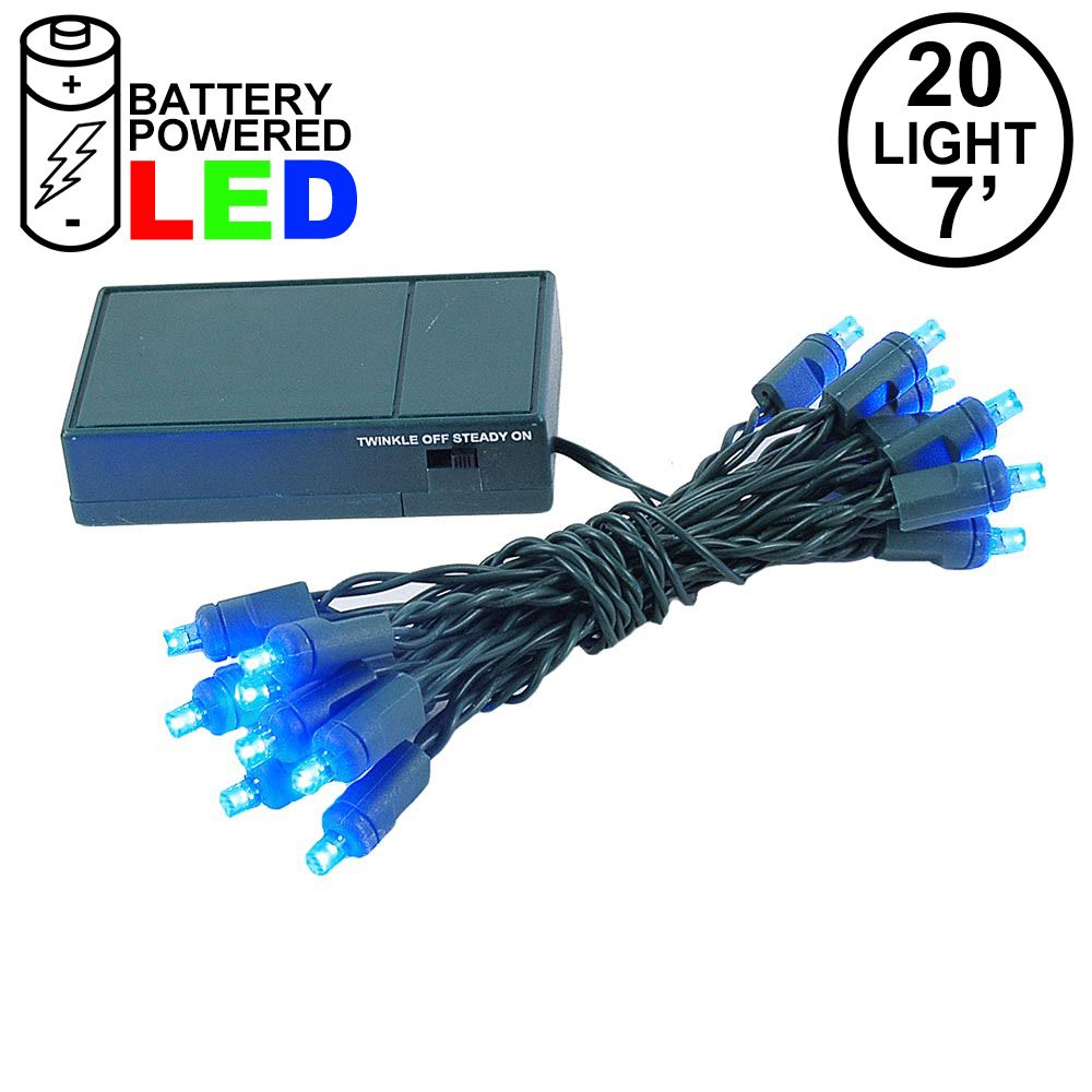 Picture of 20 LED Battery Operated Lights Blue Green Wire