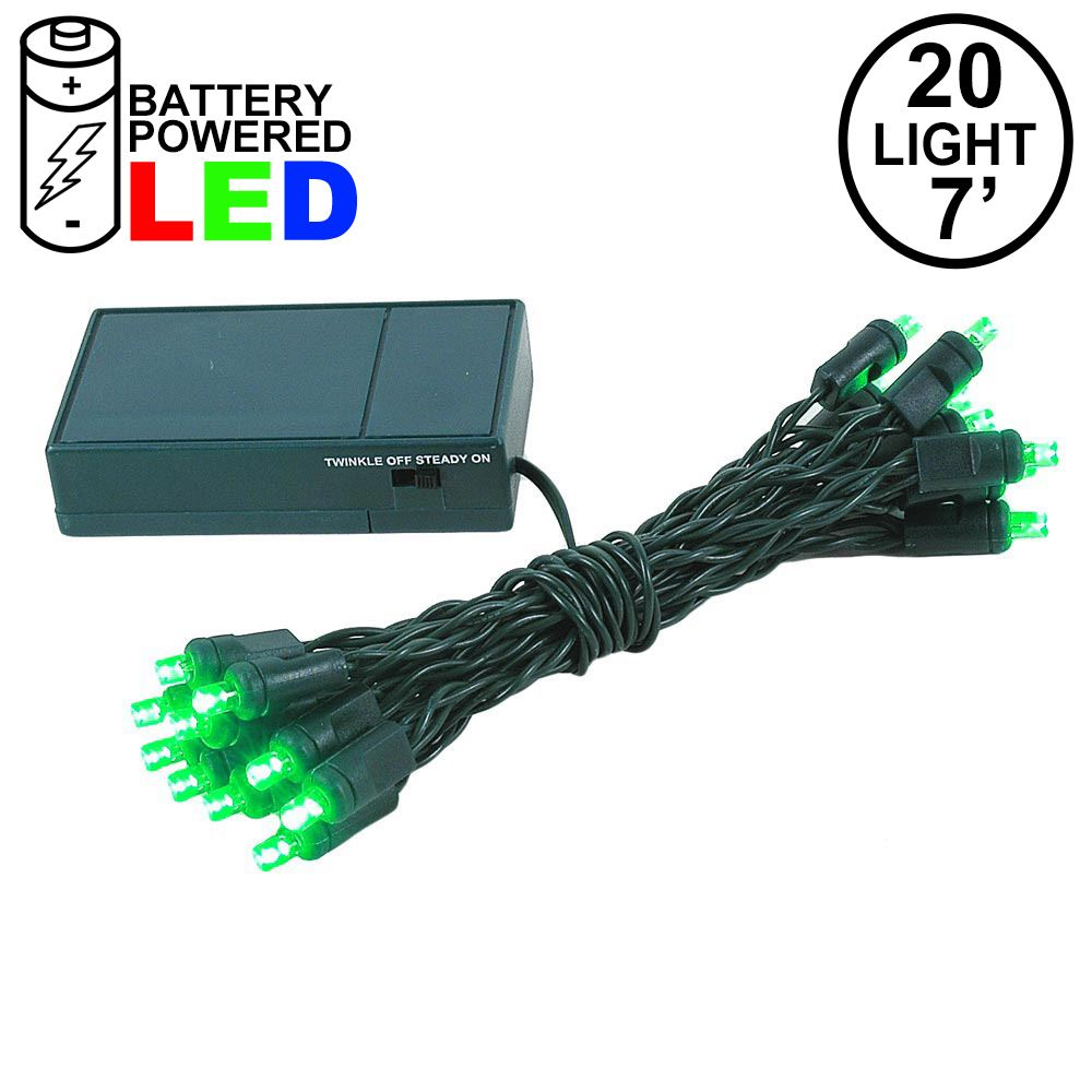 Picture of 20 LED Battery Operated Lights Green on Green Wire