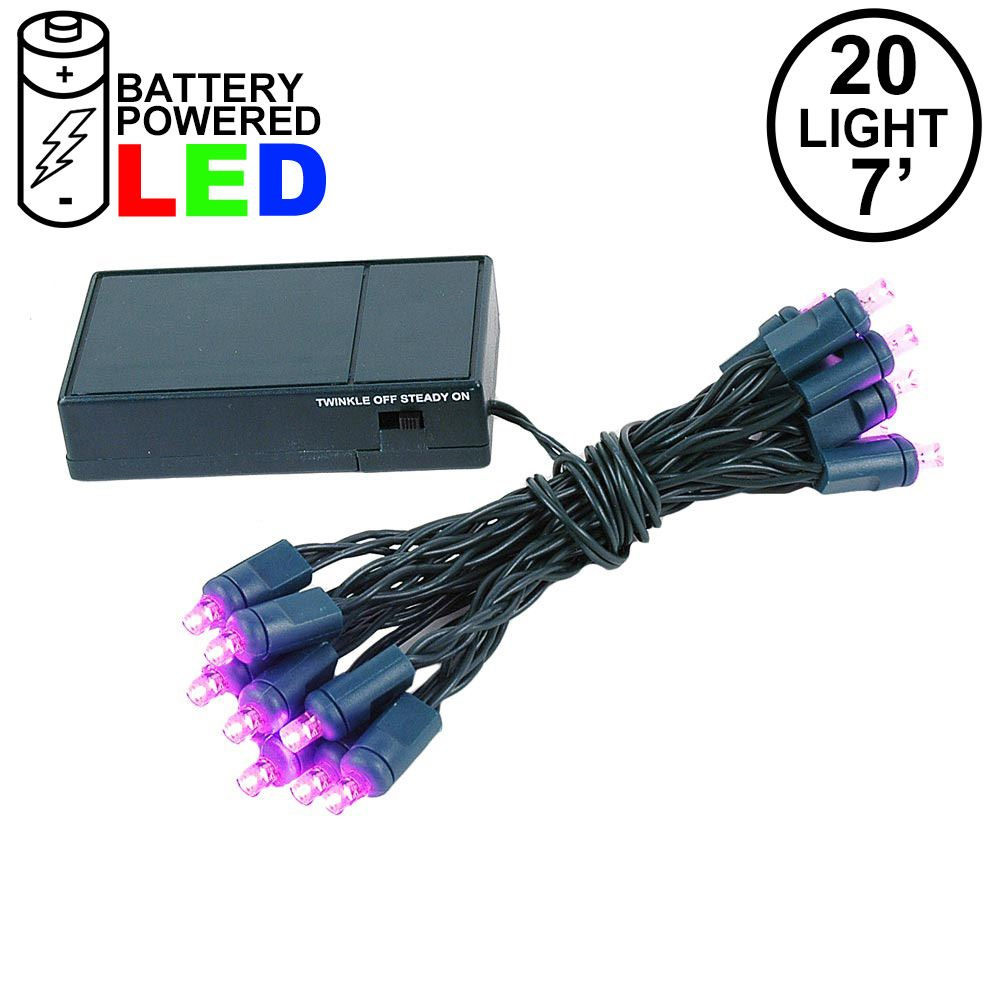 Picture of 20 LED Battery Operated Lights Pink Green Wire