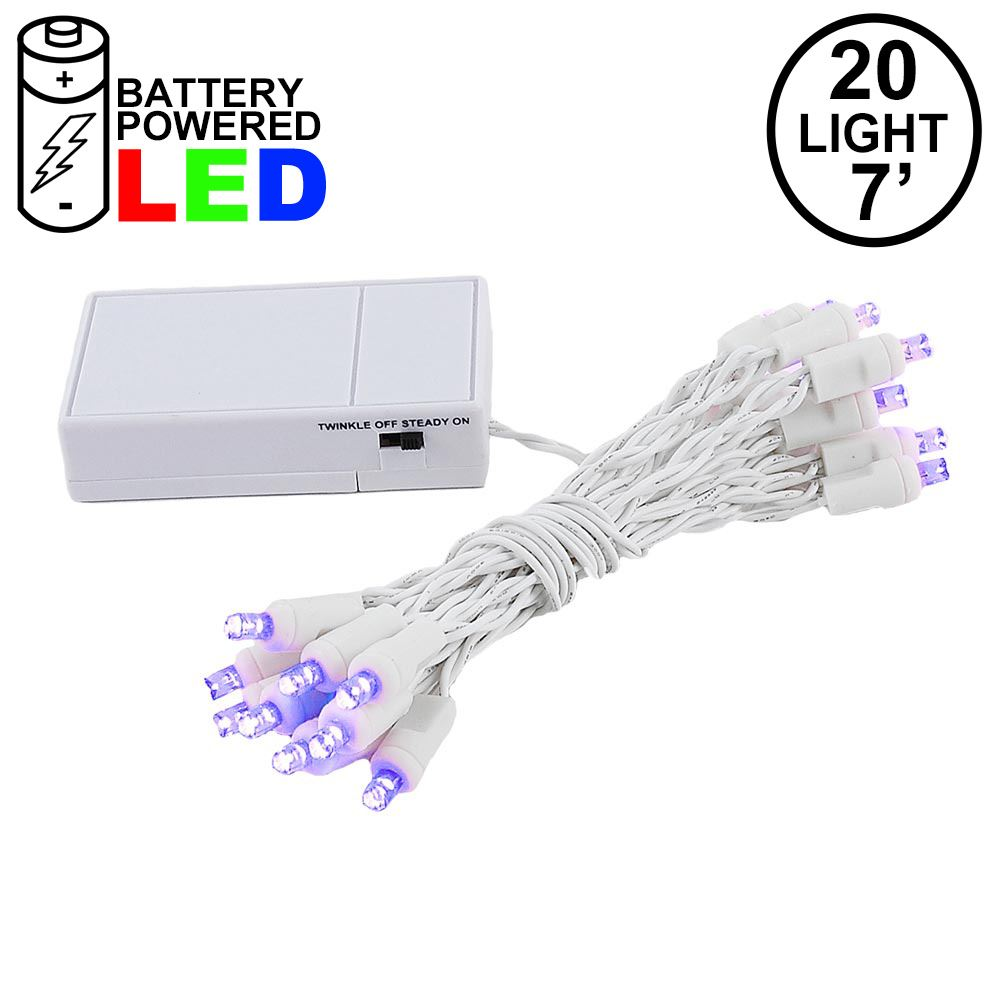 Picture of 20 LED Battery Operated Lights Purple White Wire