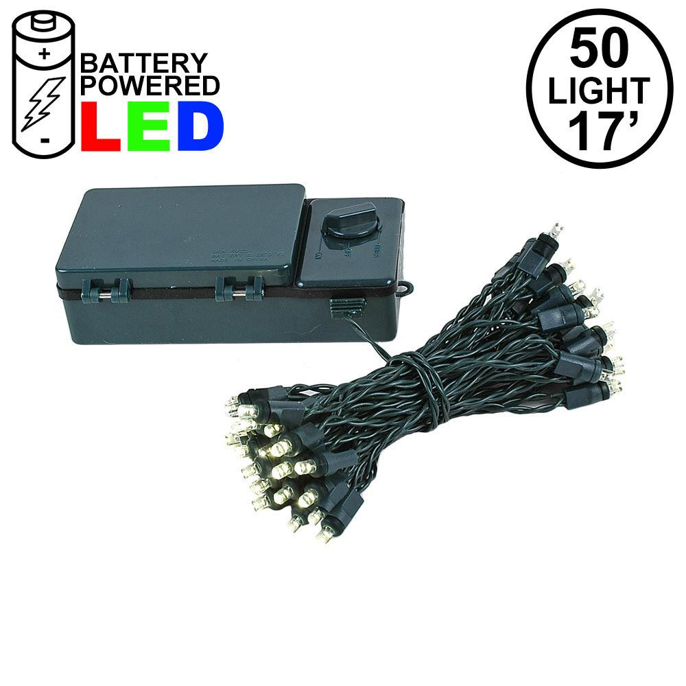 Picture of 50 LED Battery Operated Lights Warm White Green Wire