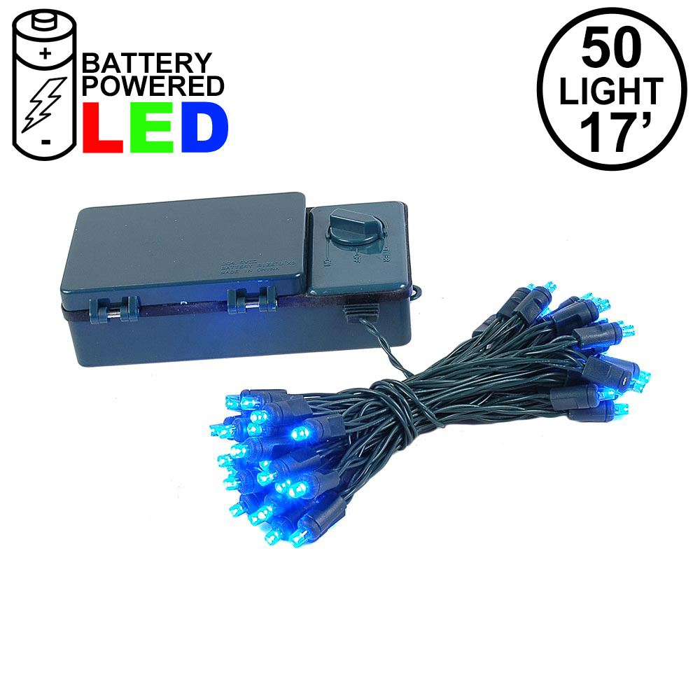 Picture of 50 LED Battery Operated Lights Blue Green Wire
