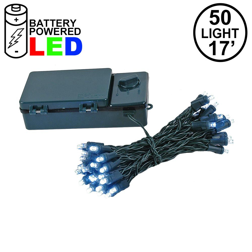 Picture of 50 LED Battery Operated Lights Pure White Green Wire