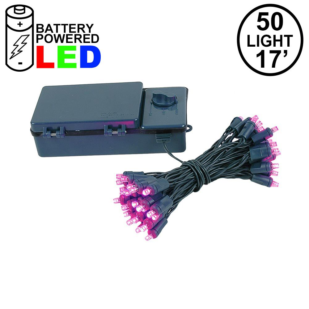 Picture of 50 LED Battery Operated Lights Pink Green Wire