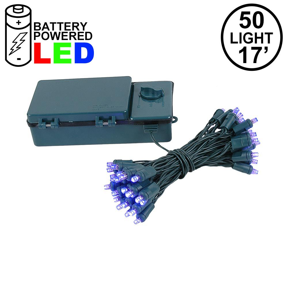 Picture of 50 LED Battery Operated Lights Purple Green WIre
