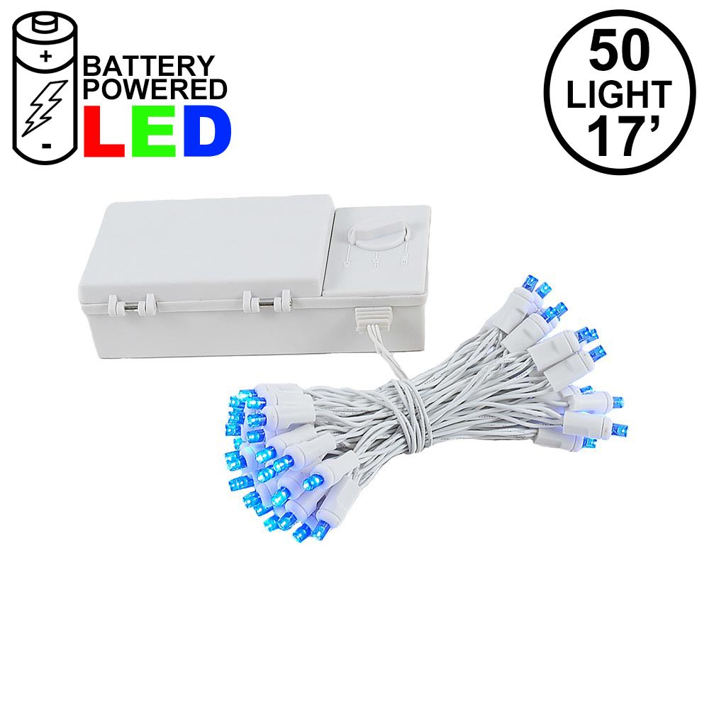Picture of 50 LED Battery Operated Lights Blue on White Wire