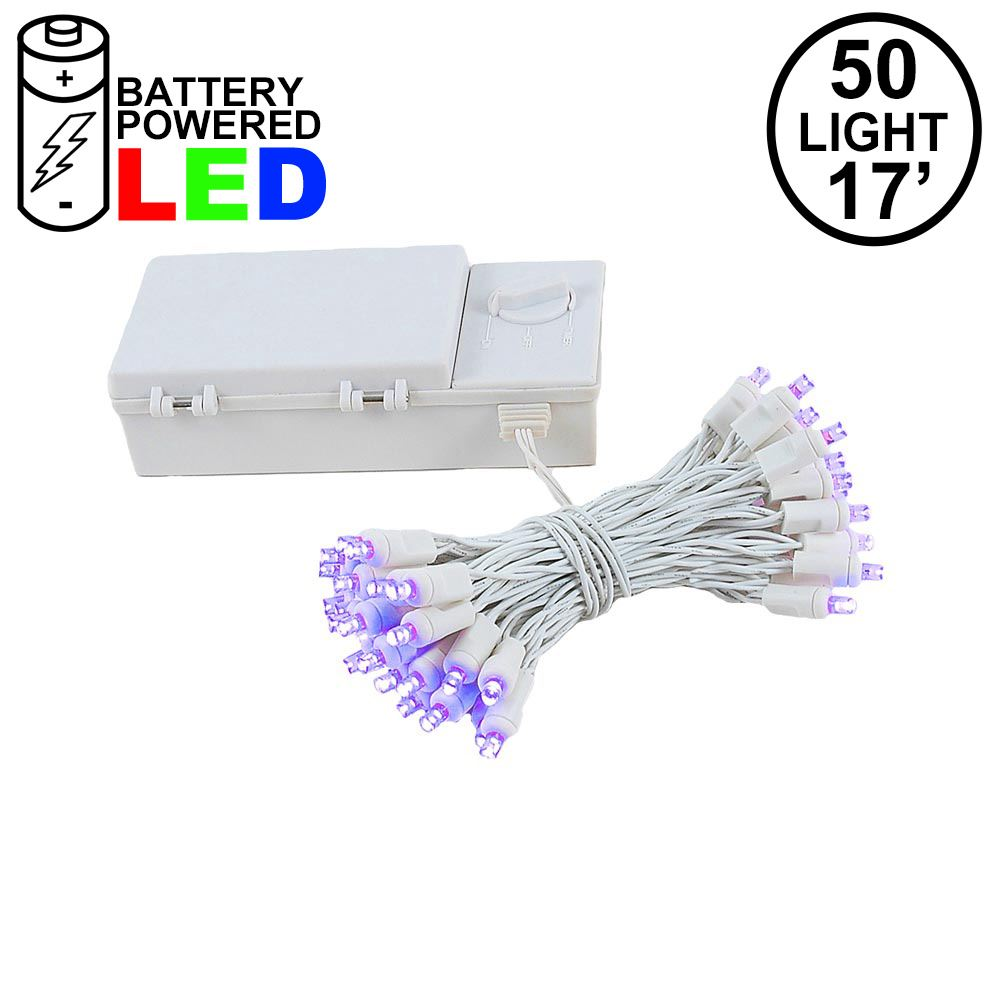 Picture of 50 LED Battery Operated Lights Purple on White Wire