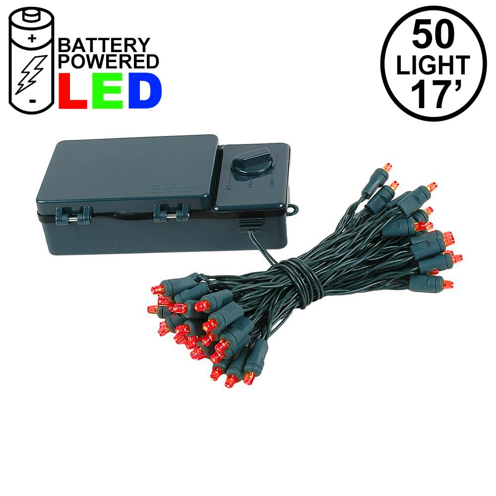 Picture of 50 LED Battery Operated Lights Red Green Wire