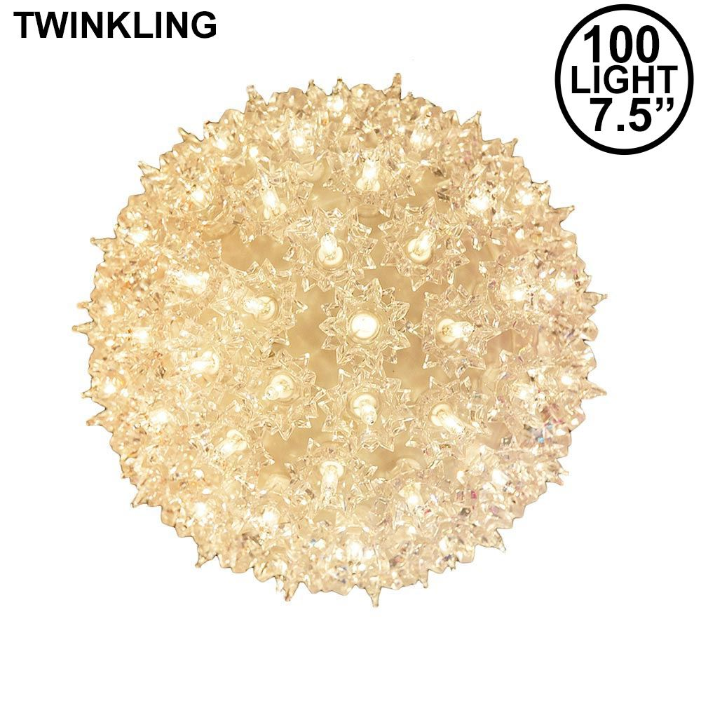 "Picture of 100 Light 7.5"" Clear Twinkling Starlight Spheres"