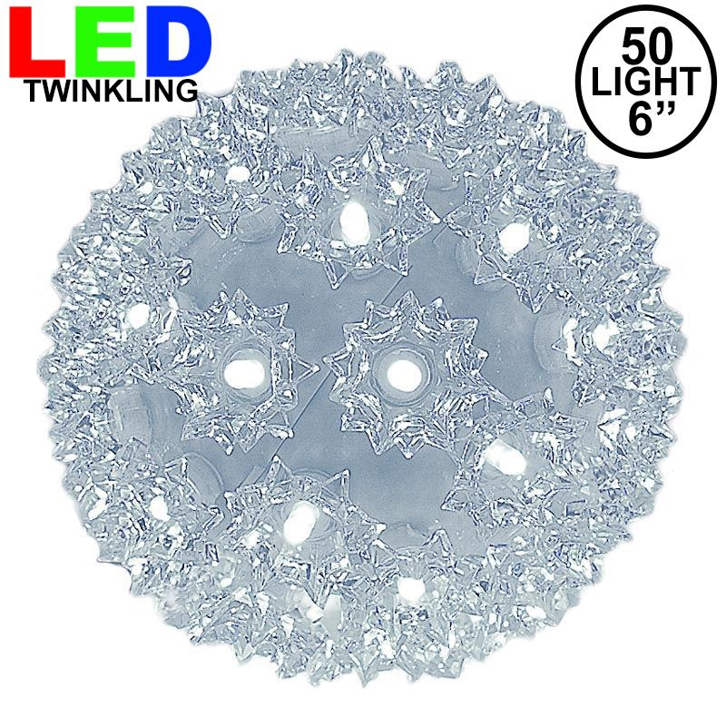 "Picture of 50 Twinkle LED 6"" Sphere Pure White"