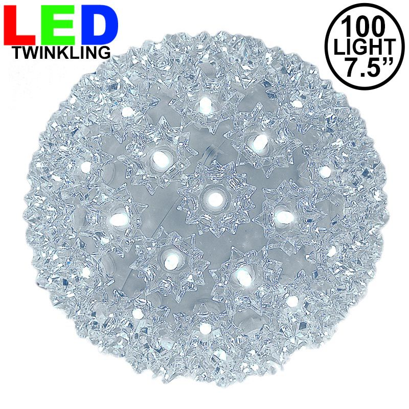 "Picture of 100 Twinkle LED 7.5"" Sphere Pure White"