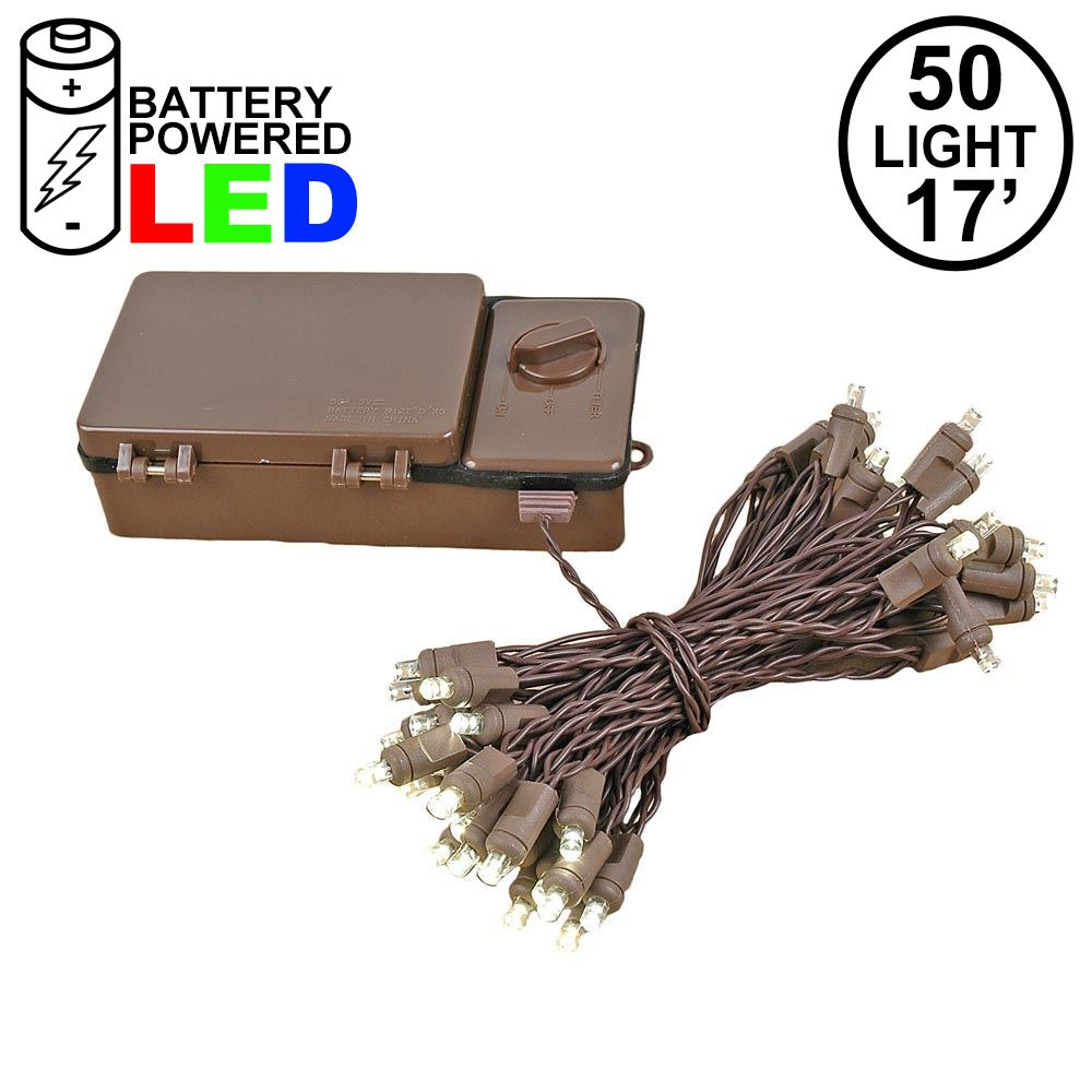 Picture of 50 LED Battery Operated Lights Warm White Brown Wire