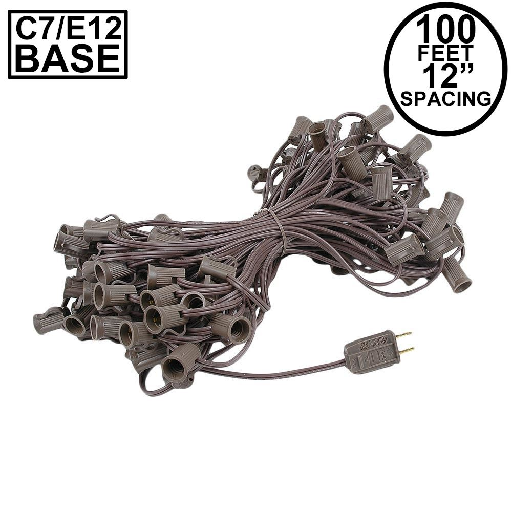 Picture of C7 100' String on Brown Wire, 100 Sockets