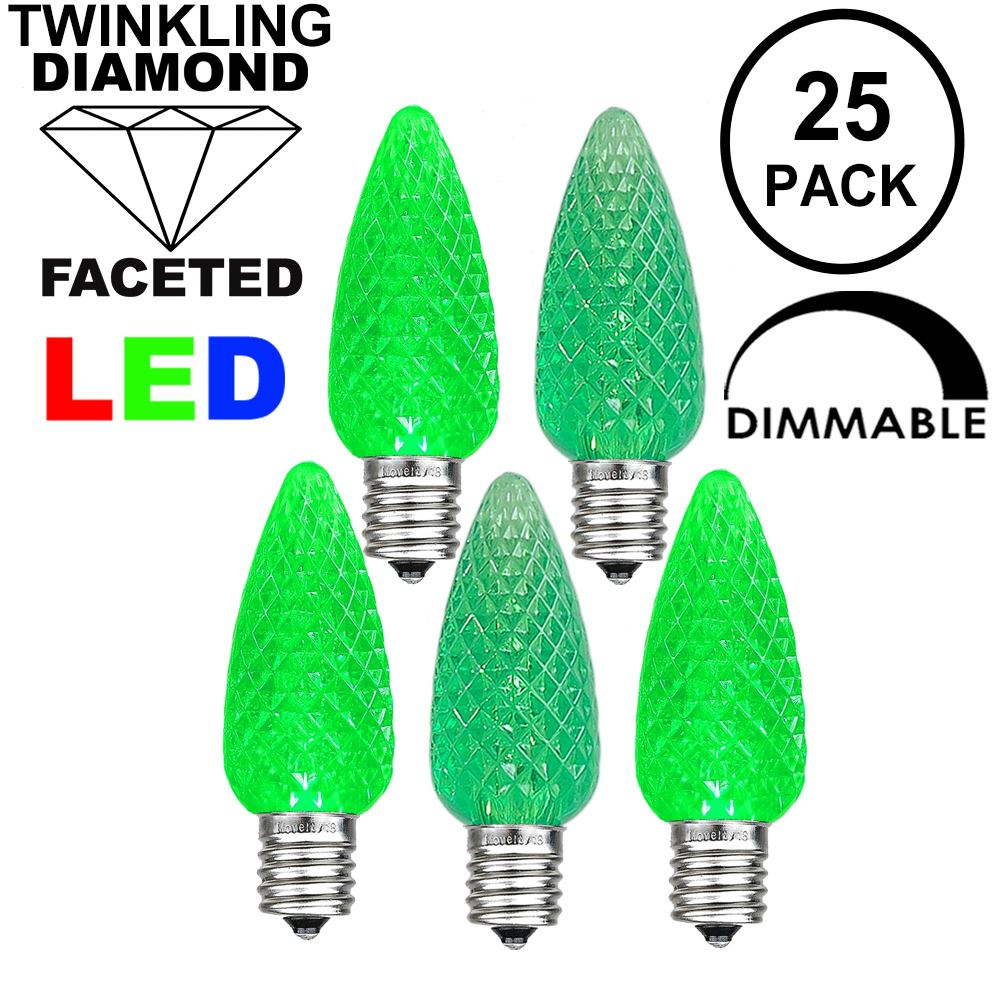 Picture of Twinkle Green C9 LED Replacement Bulbs 25 Pack