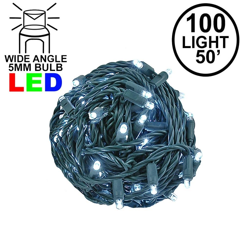 """Picture of Coaxial 100 LED Pure White 6"""" Spacing Green Wire"""