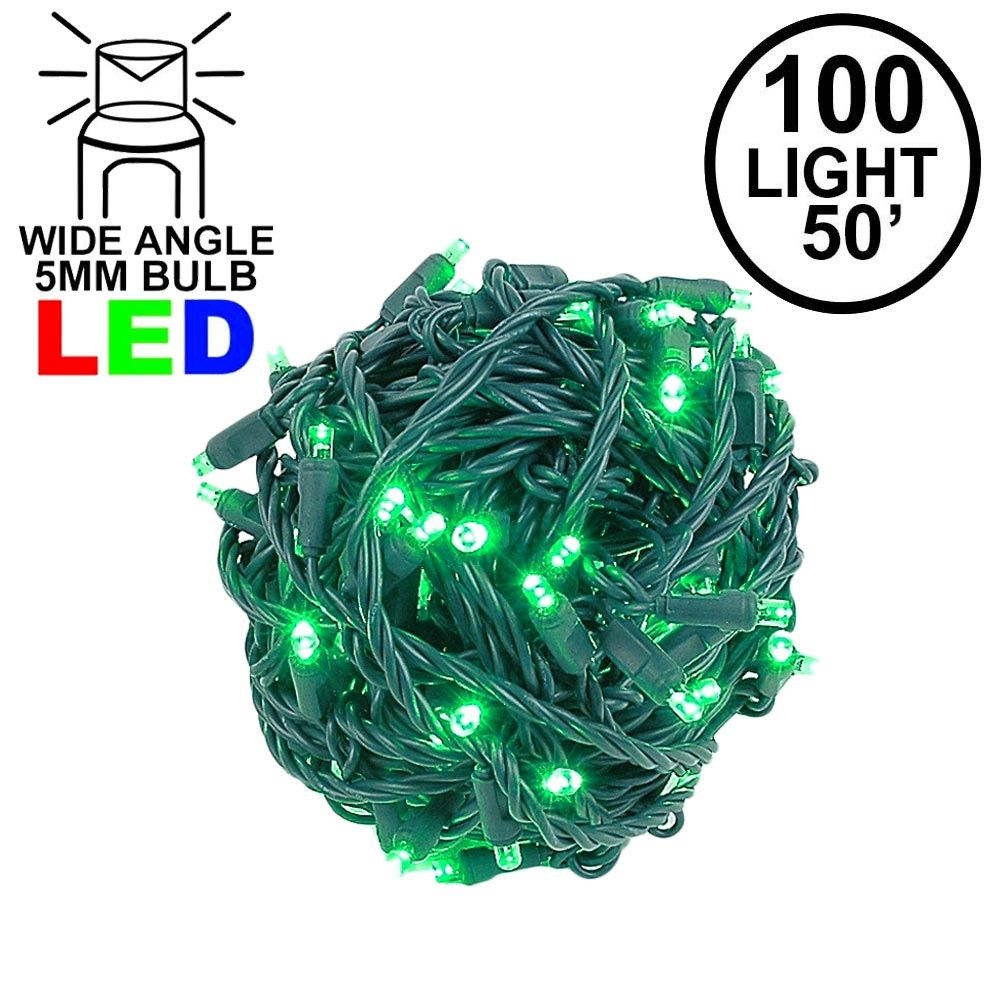 """Picture of Coaxial 100 LED Green 6"""" Spacing Green Wire"""