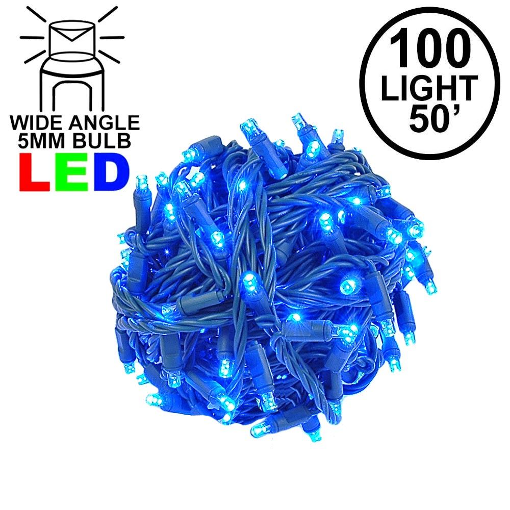 "Picture of Coaxial 100 LED Blue 6"" Spacing Green Wire"