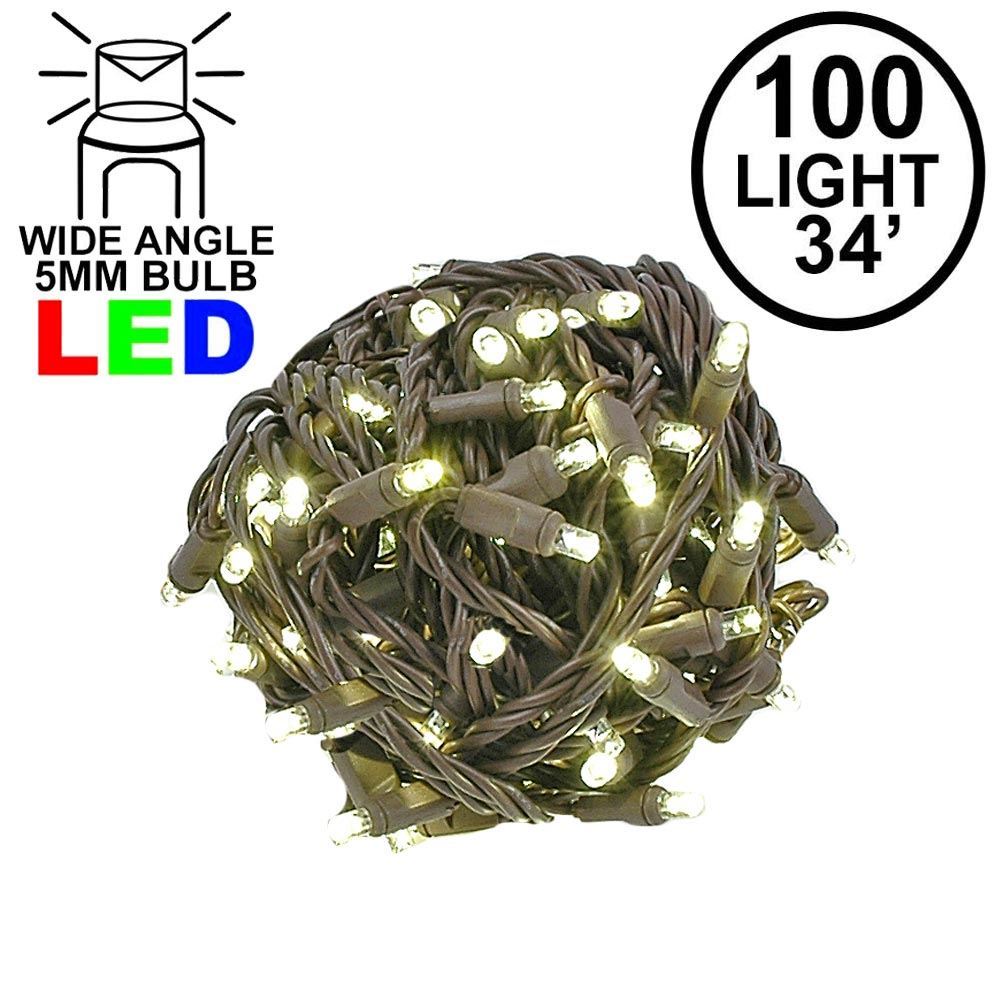 """Picture of Coaxial 100 LED Warm White 4"""" Spacing Brown Wire"""