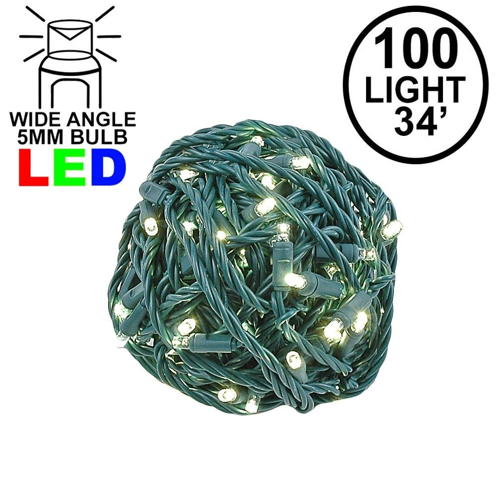 "Picture of Coaxial 100 LED Warm White 4"" Spacing Green Wire"