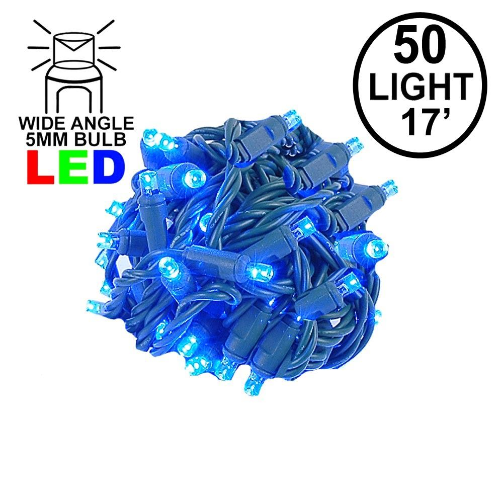 "Picture of Coaxial 50 LED Blue 4"" Spacing Green Wire"