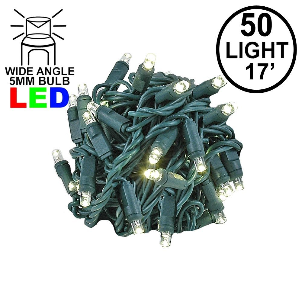"Picture of Coaxial 50 LED Warm White 4"" Spacing Green Wire"