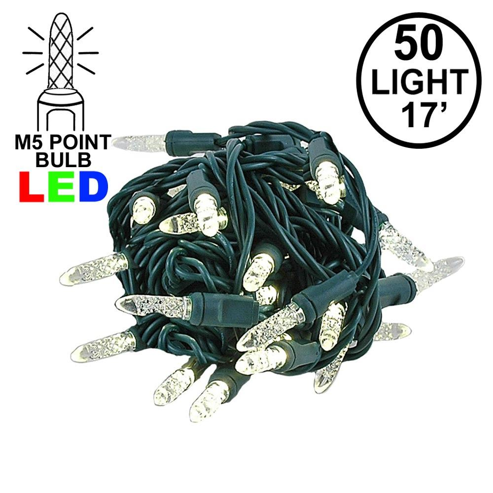 "Picture of Coaxial 5M 50 LED Warm White 4"" Spacing Green Wire"