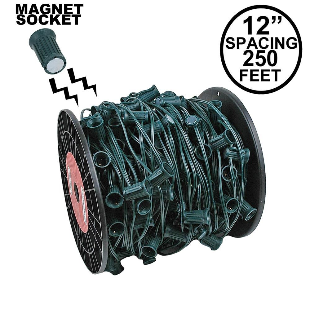 "Picture of C9 Magnetic 250' Spool 12"" Spacing Green Wire"