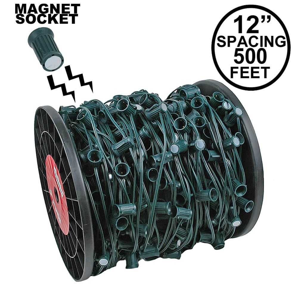 "Picture of C9 Magnetic 500' Spool 12"" Spacing Green Wire"