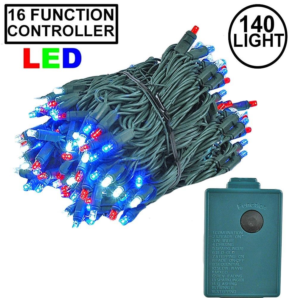 Picture of Red, White, Blue 140 LED Multi Function Chasing Christmas Lights