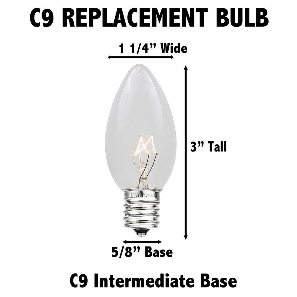Details about  /Box of 25 NEW C9 AMBER transparent orange 7w CHRISTMAS string LIGHT bulb 130V