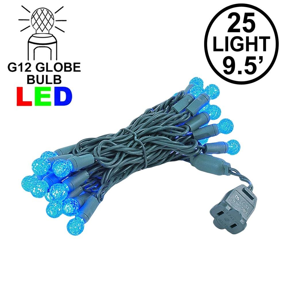 "Picture of G12 25 LED Blue 4"" Spacing Green Wire"