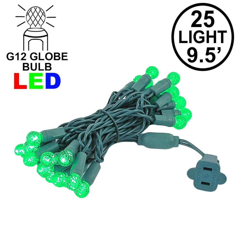 "Picture of G12 25 LED Green 4"" Spacing Green Wire *On Sale*"