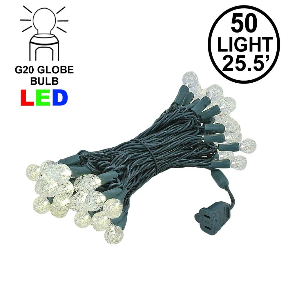 "Picture of G20 50 LED Bubble Warm White 6"" Spacing Green Wire"