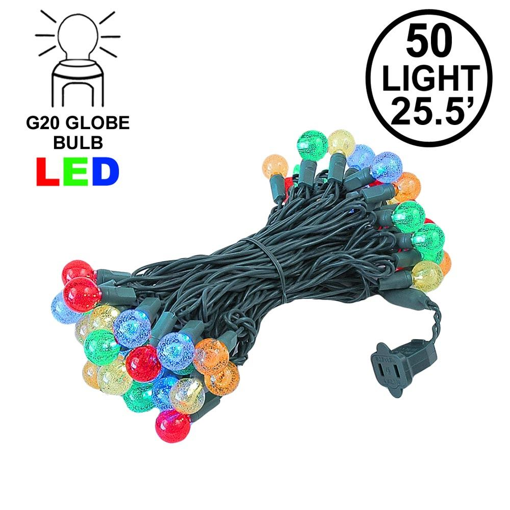 "Picture of G20 50 LED Bubble Multi 6"" Spacing Green Wire"
