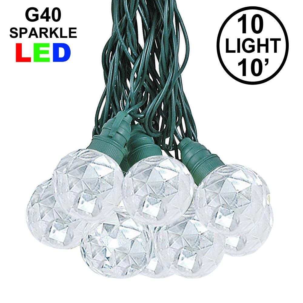 Picture of 10 Pure White Sparkle Orb LED G40 Pre-Lamped String Lights
