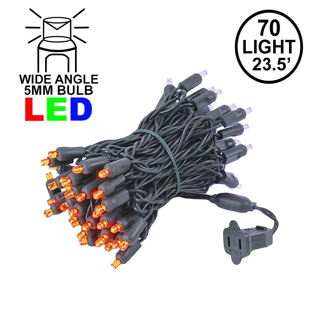 Picture of Commercial Grade Wide Angle 70 LED Orange/Purple 23.5' Long on Black Wire