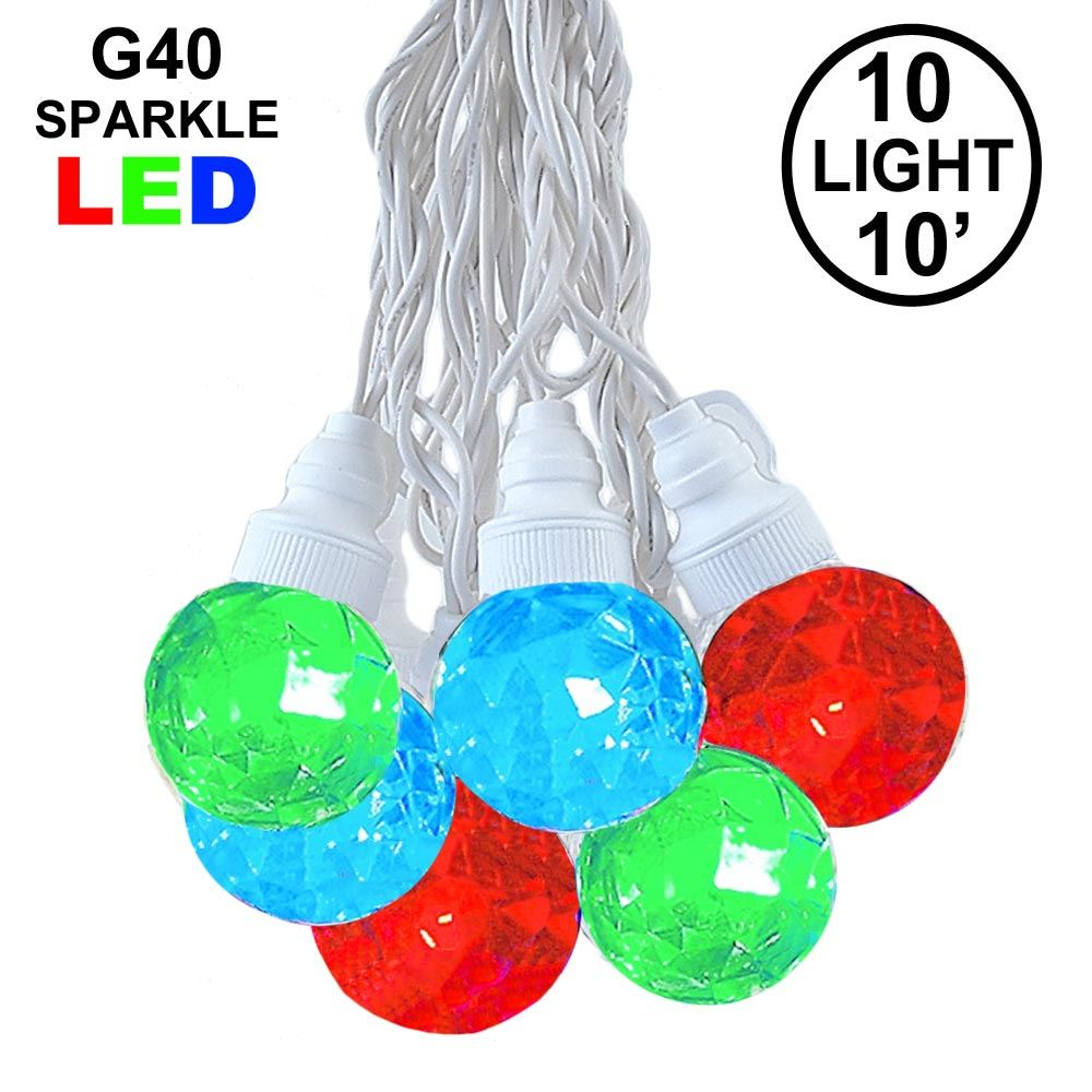 Picture of 10 Multi Sparkle Orb LED G40 Pre-Lamped String Lights White Wire