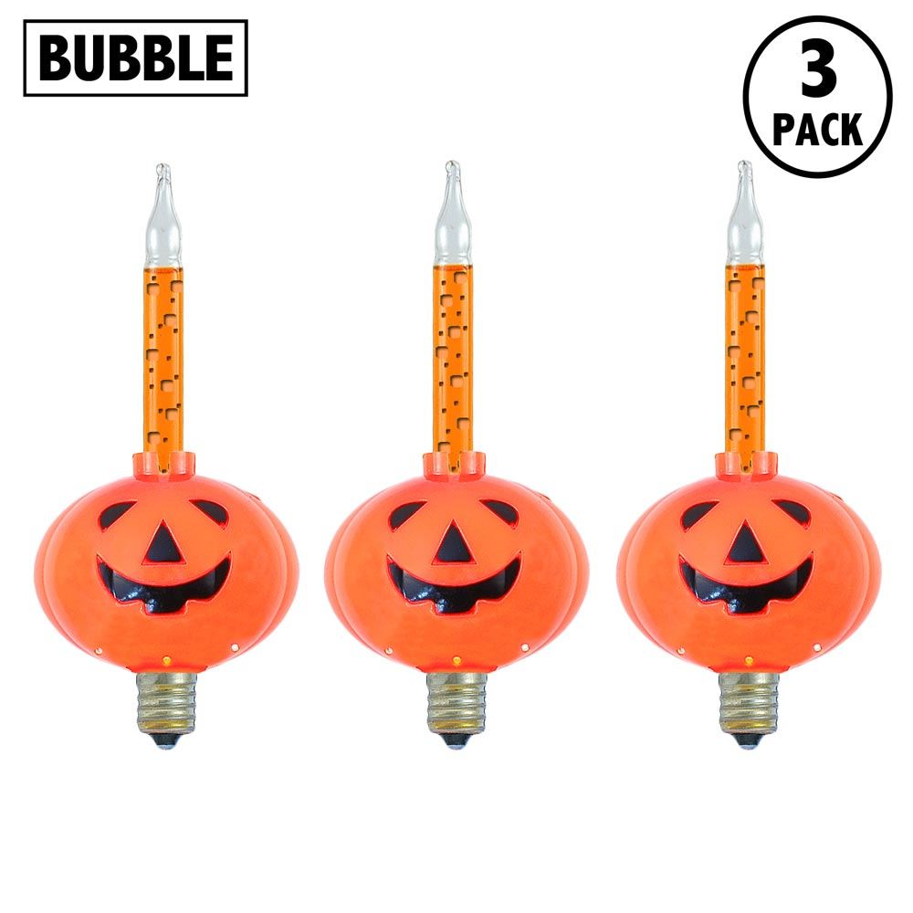 Picture of Orange Pumpkin Halloween Bubble Light Replacements 3 Pack