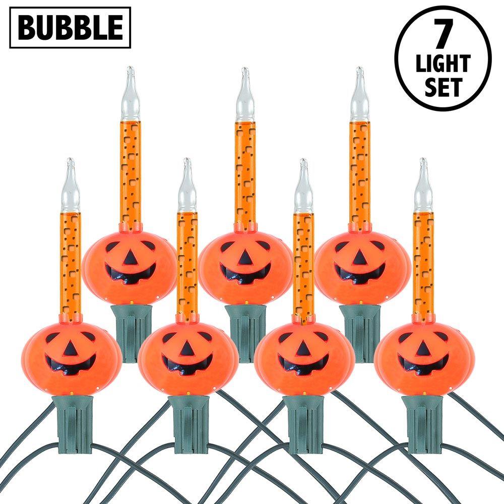 Picture of Orange Pumpkin Halloween Bubble Light Set