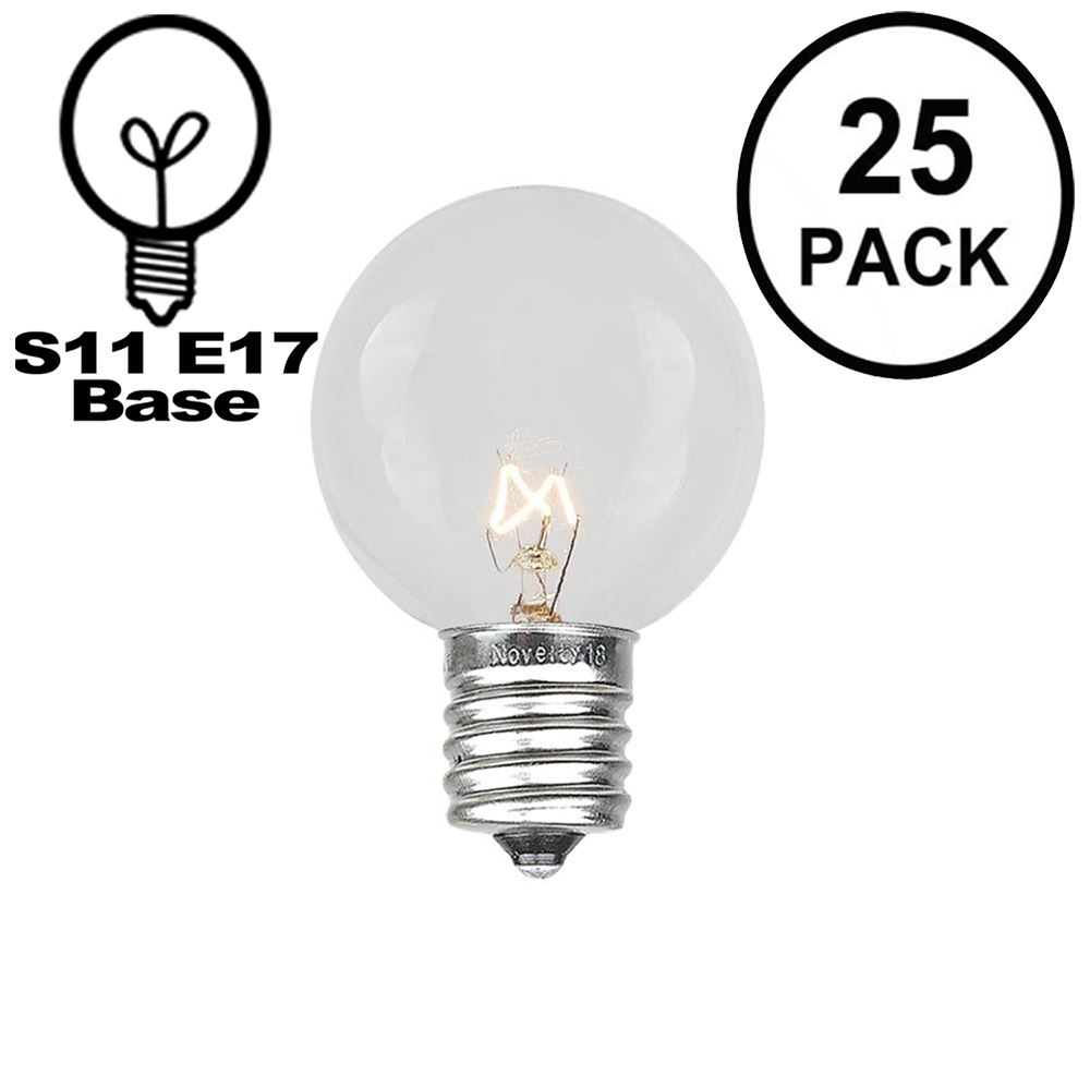 Picture of 25 Pack of Clear S11 10 Watt Bulbs Intermediate Base e17