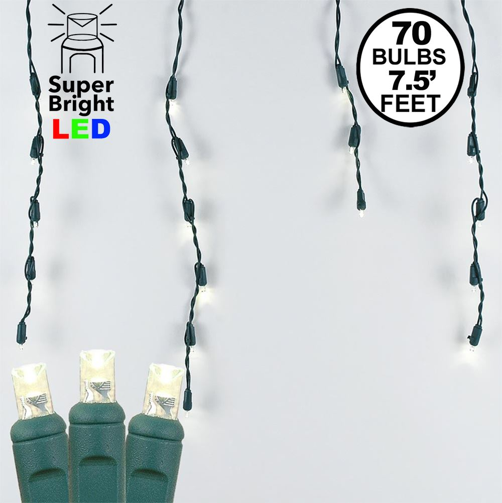 Picture of Warm White LED Icicle Lights on Green Wire 70 Bulbs