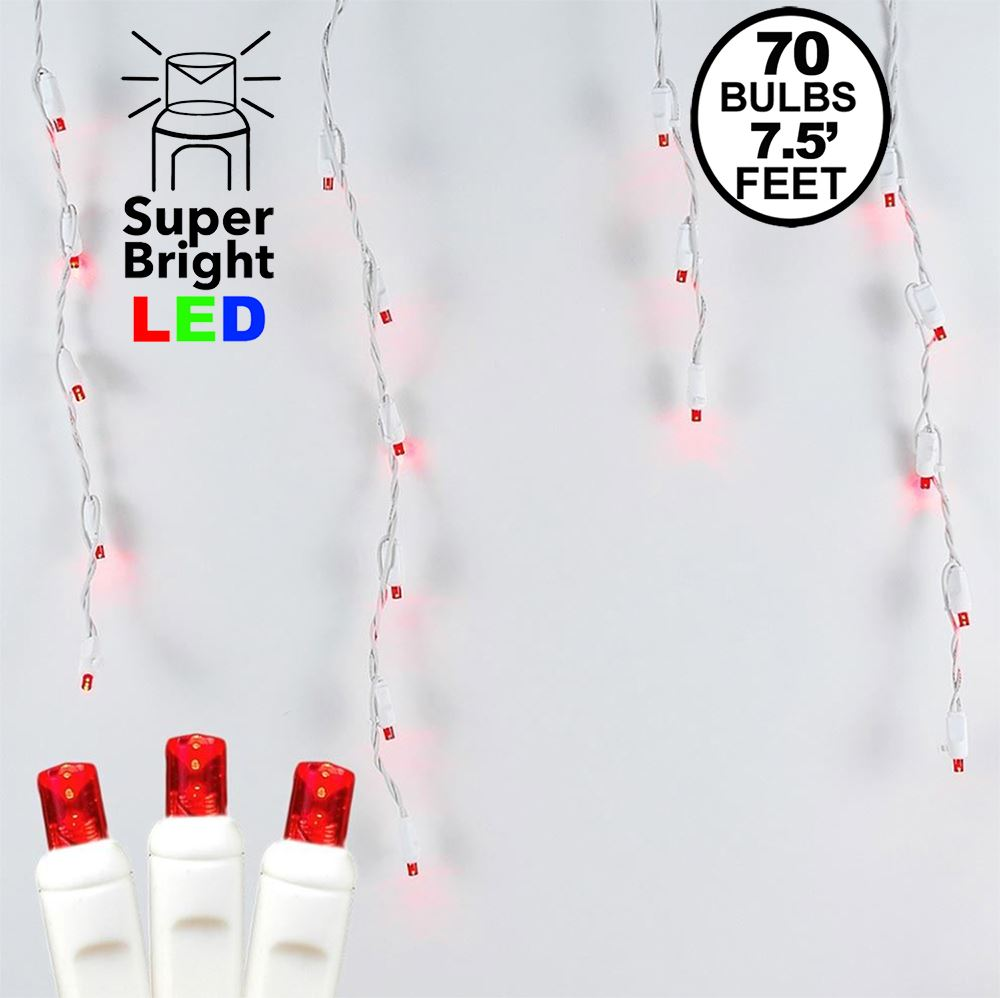 Picture of Red LED Icicle Lights on White Wire 70 Bulbs