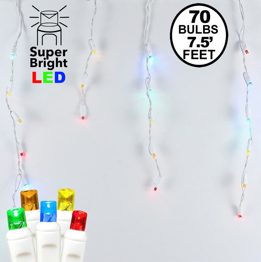 Picture of Multi LED Icicle Lights on White Wire 70 Bulbs
