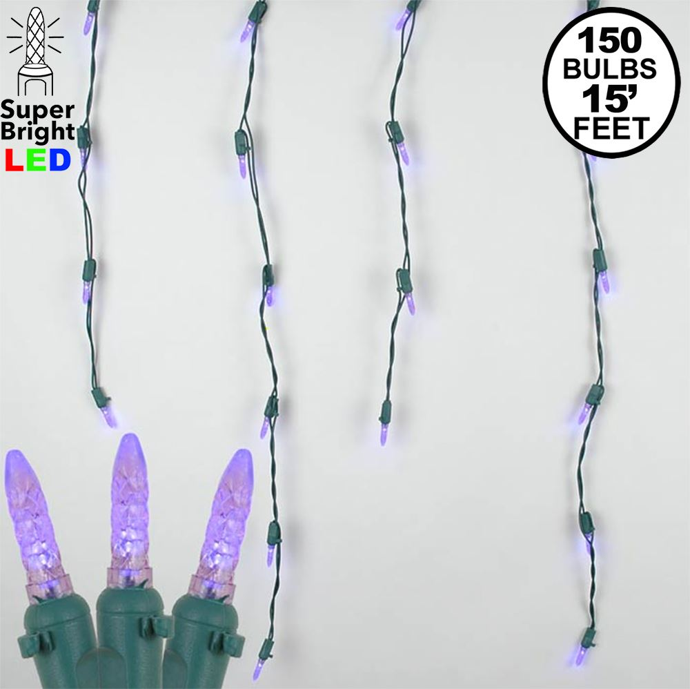 Picture of Purple LED Icicle Lights on Green Wire 150 Bulbs