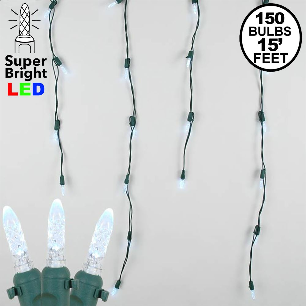 Picture of Pure White LED Icicle Lights on Green Wire 150 Bulbs